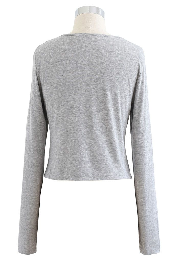 Cutout Detail Elastic Ruched Crop Top in Grey
