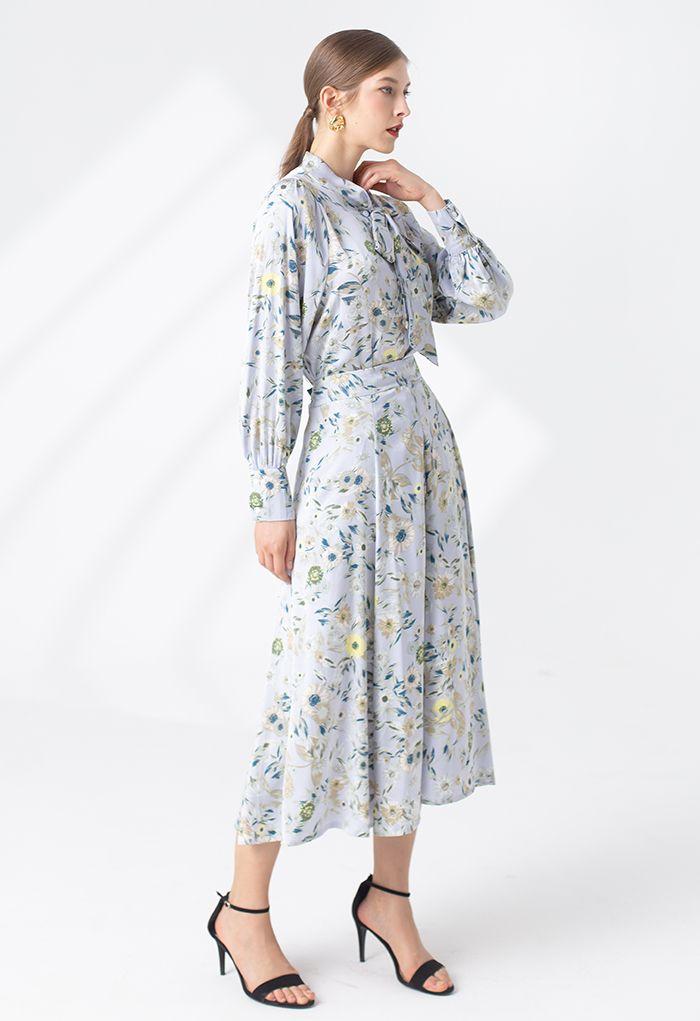 Daisy Print Satin Midi Skirt in Blue