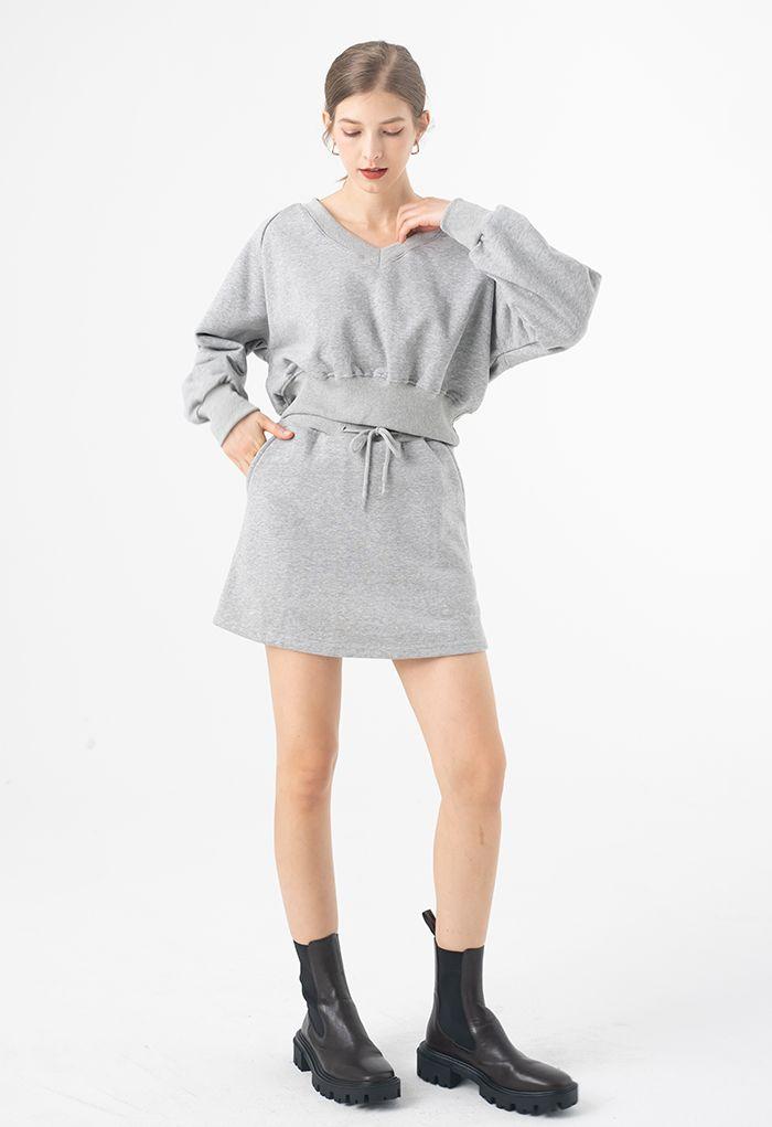 Cotton Drawstring Pocket Mini Skorts in Grey