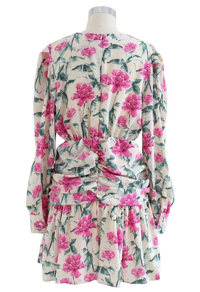 Wild Rose Ruched Frill Hem Mini Dress in Cream