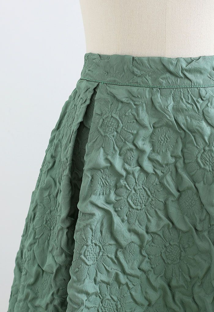 Sunflower Embossed Pleated Midi Skirt in Green