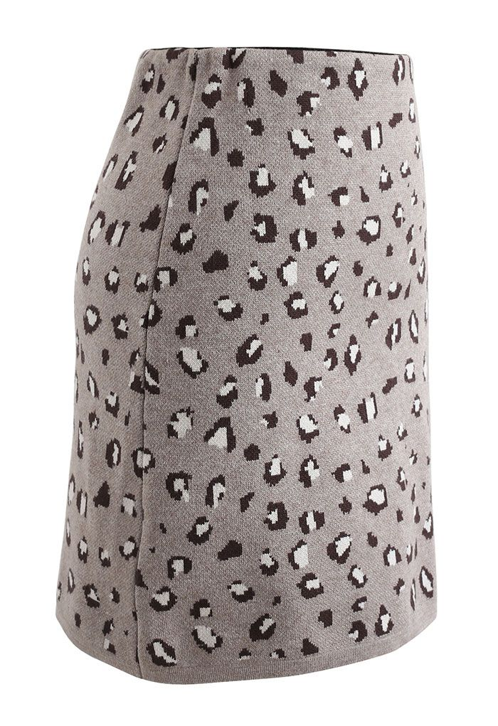 Leopard Print Knitted Bud Skirt in Taupe