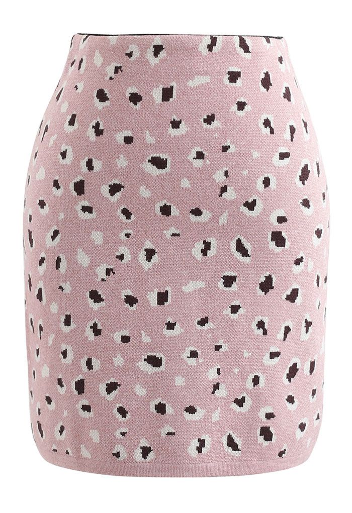Leopard Print Knitted Bud Skirt in Pink