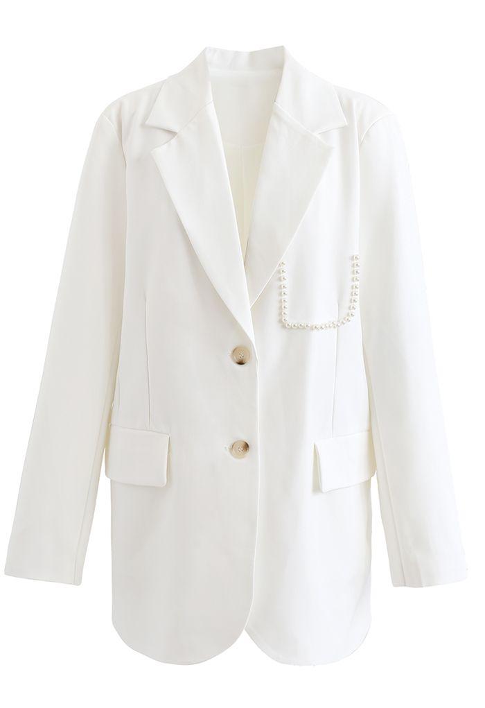 Pearly Pocket Pad Shoulder Blazer in White