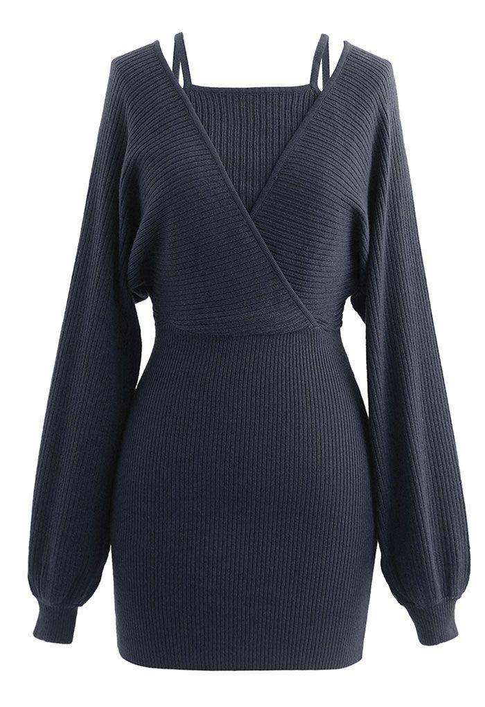 Fake Two-Piece Cold-Shoulder Wrap Knit Dress in Smoke