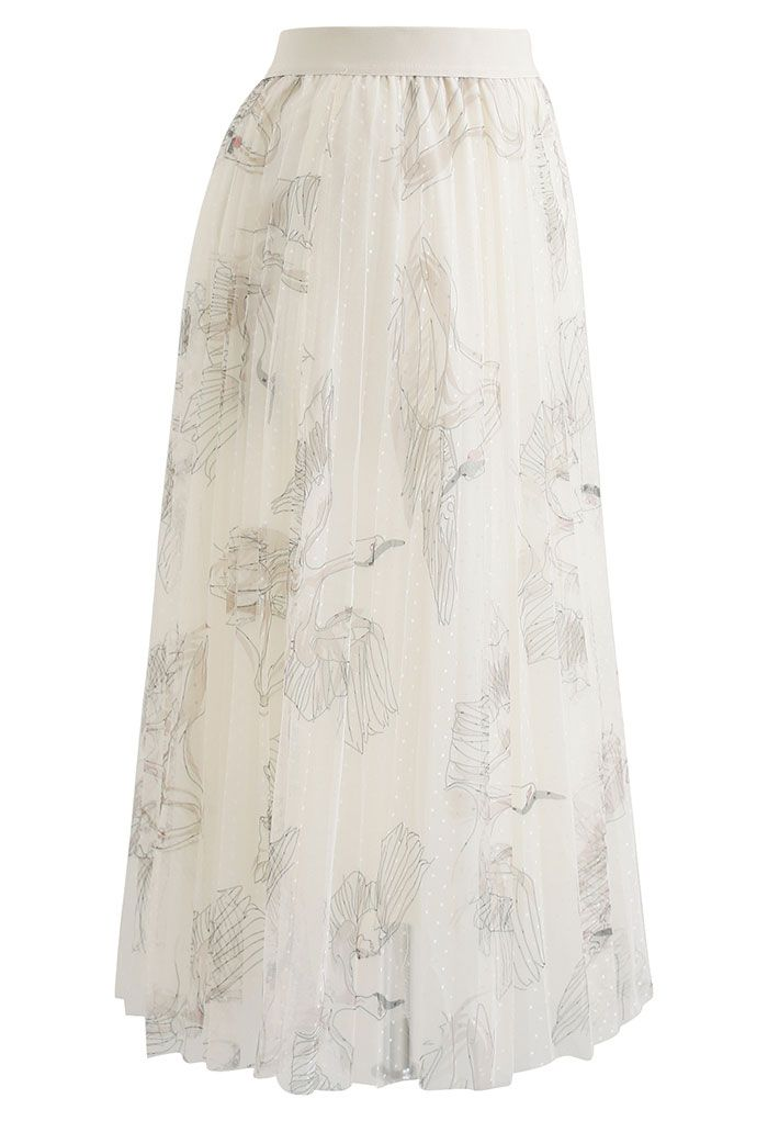 Swan Dotted Mesh Pleated Skirt in Cream