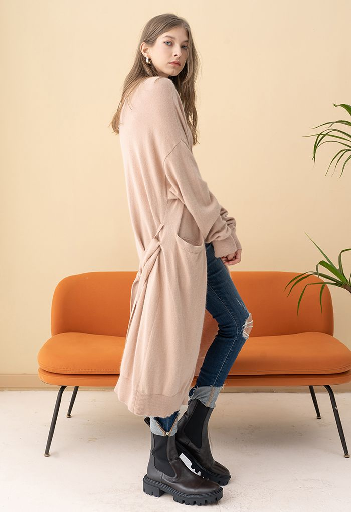 Patched Pocket Open Front Longline Knit Cardigan