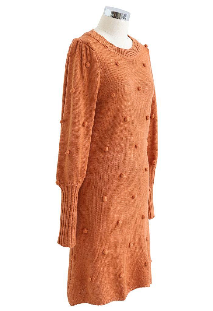Puff Sleeve Pom-Pom Sweater Dress in Orange