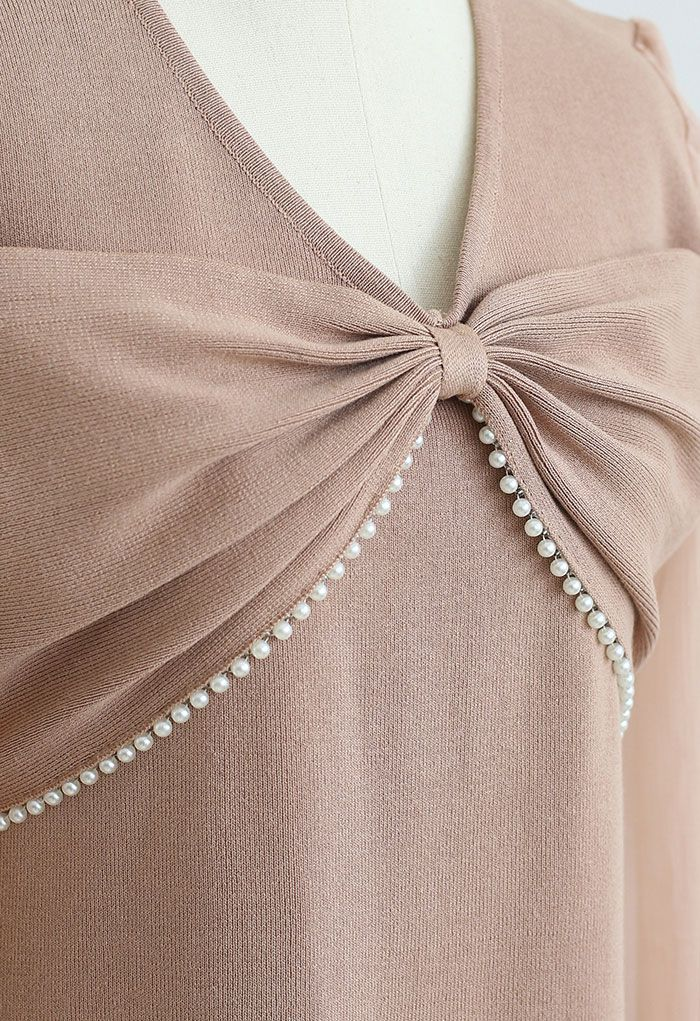 Pearly Bowknot Organza Sleeve Knit Dress in Coral