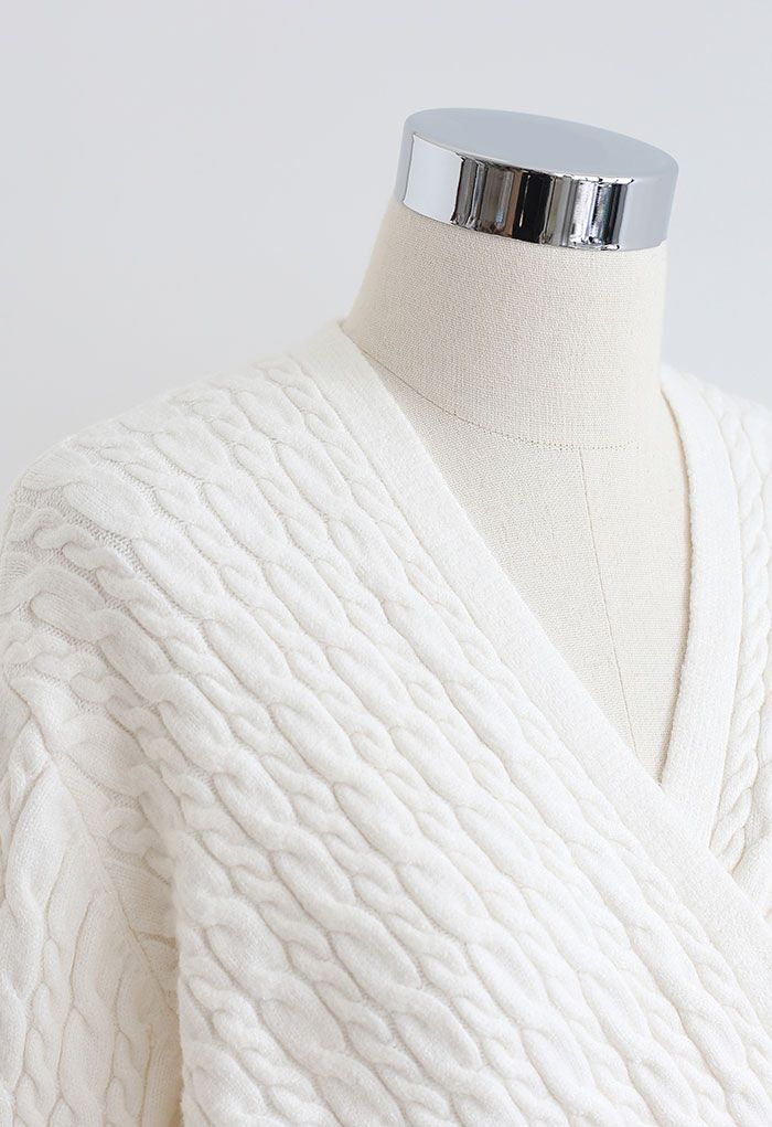 Cable Knit Wrap Front Crop Sweater in Cream
