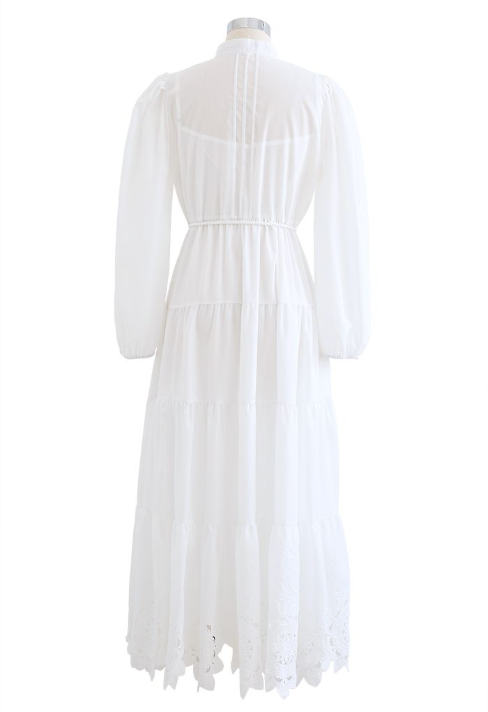 Flower Cutwork Cotton Maxi Dress in White
