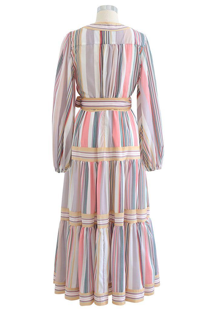 Stripe Print Cotton Self-Tie Wrap Top and Maxi Skirt Set