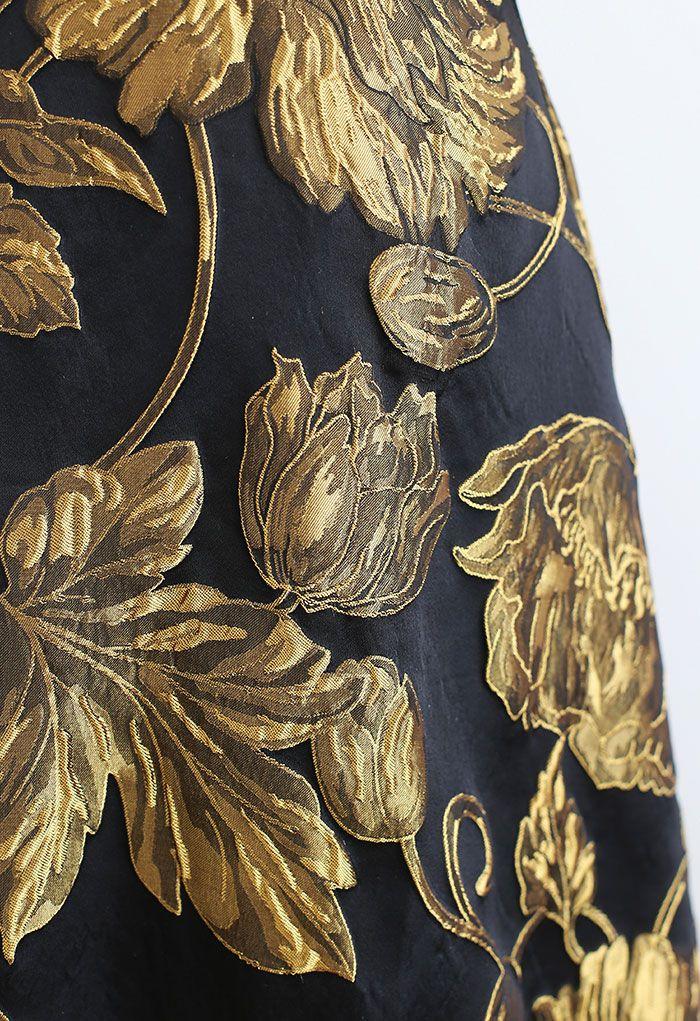 Golden Bouquet Jacquard Embossed Maxi Skirt