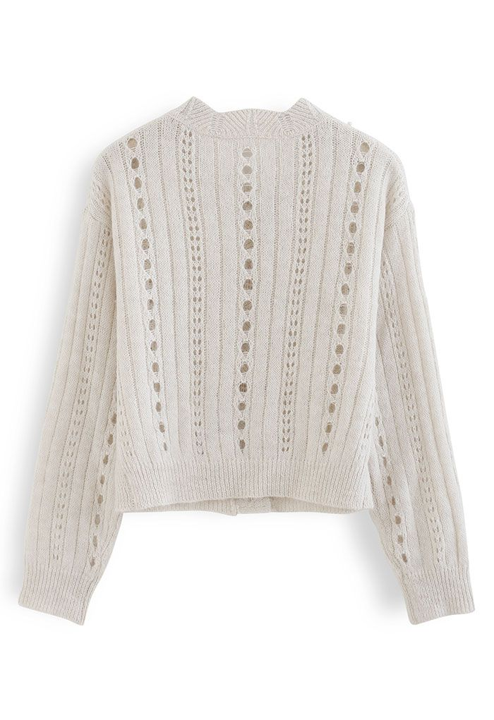 Pearly Hollow Out Knit Buttoned Top in Sand