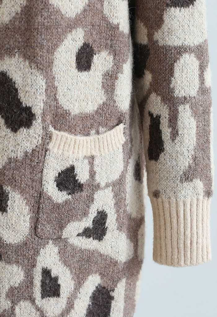 Brown Leopard Spot Printed Buttoned Cardigan