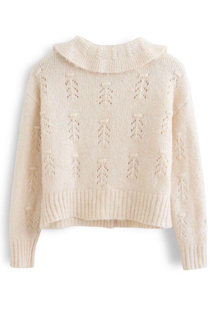 Peter Pan Collar Button Knit Cardigan in Cream