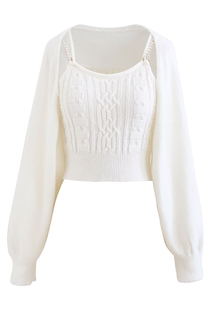 Cropped Braid Knit Cami Top and Sweater Sleeve Set in White