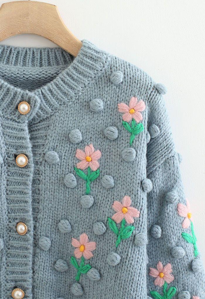 Stitch Posy Pom-Pom Hand-Knit Cardigan in Dusty Blue