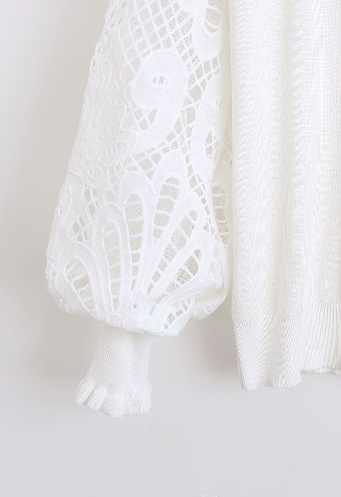 Baroque Crochet Sleeve Knit Top in White