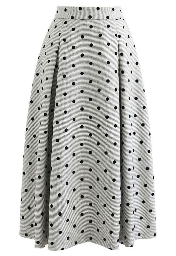 Polka Dot High Waist Midi Skirt in Grey