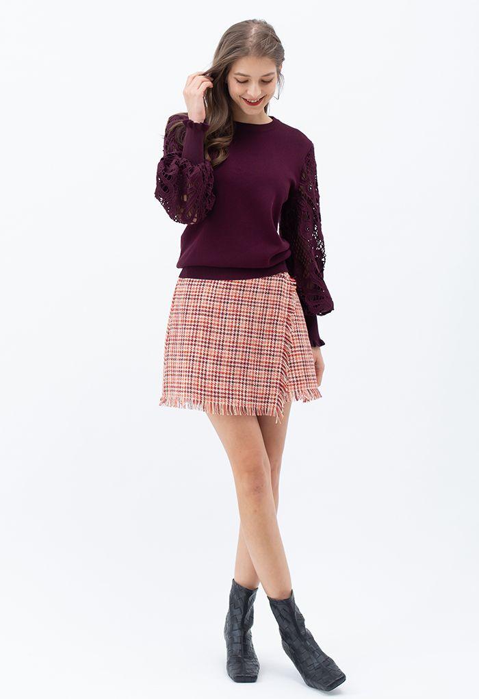 Baroque Crochet Sleeve Knit Top in Berry