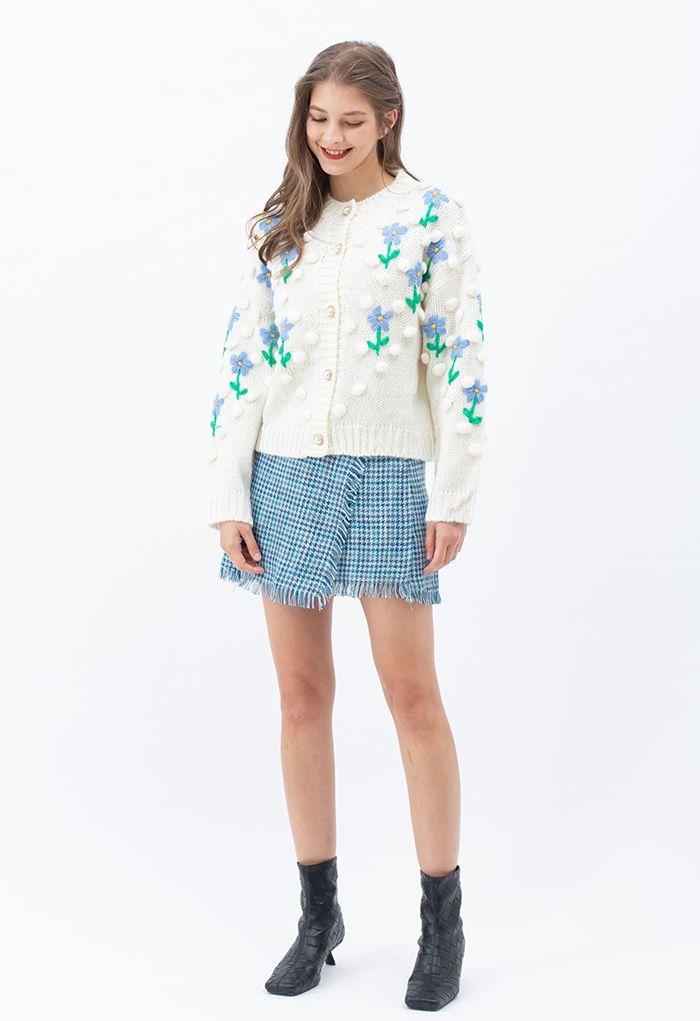 Stitch Posy Pom-Pom Hand-Knit Cardigan in White