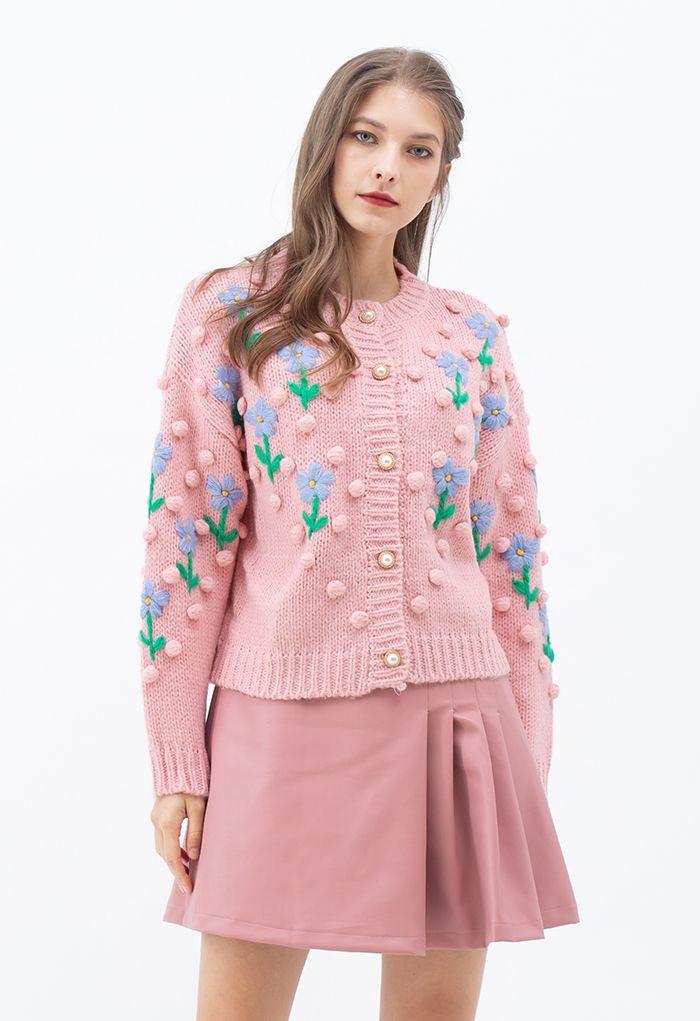 Stitch Posy Pom-Pom Hand-Knit Cardigan in Pink