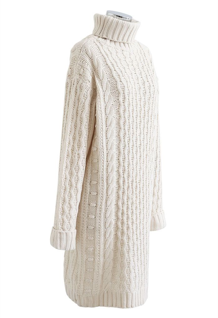 Turtleneck Cable Knit Sweater Dress in Ivory