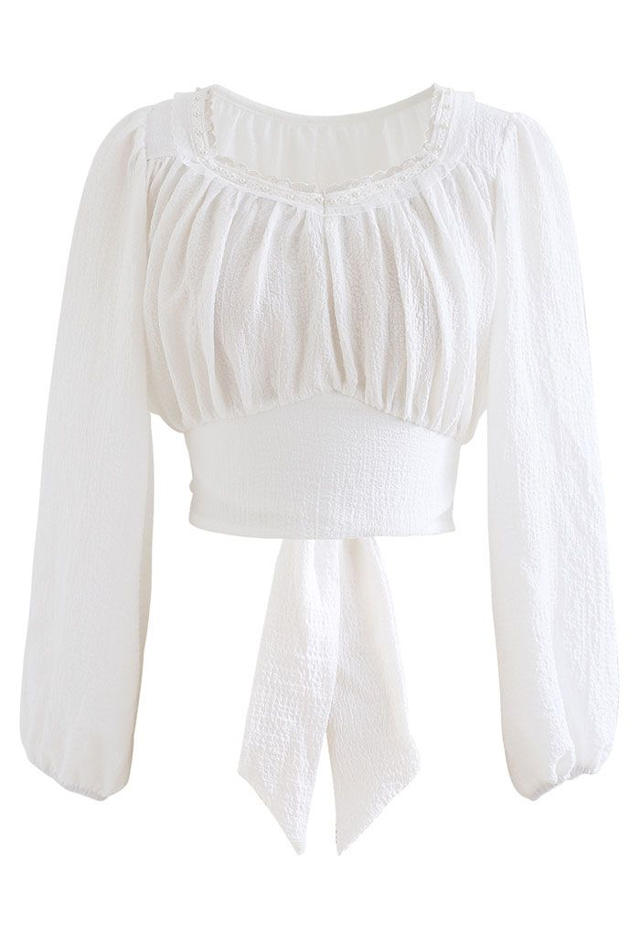 Pearly Neck Tie Back Embossed Crop Top in White