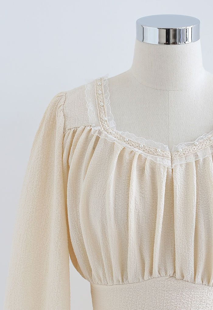 Pearly Neck Tie Back Embossed Crop Top in Cream