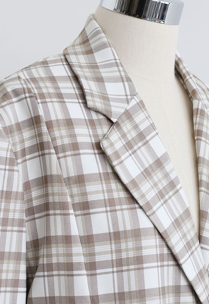Plaid Single Breasted Buttoned Hem Blazer in Sand