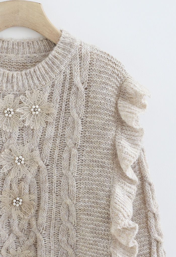 Crochet Flowers Decorated Ruffle Cable Knit Sweater in Linen