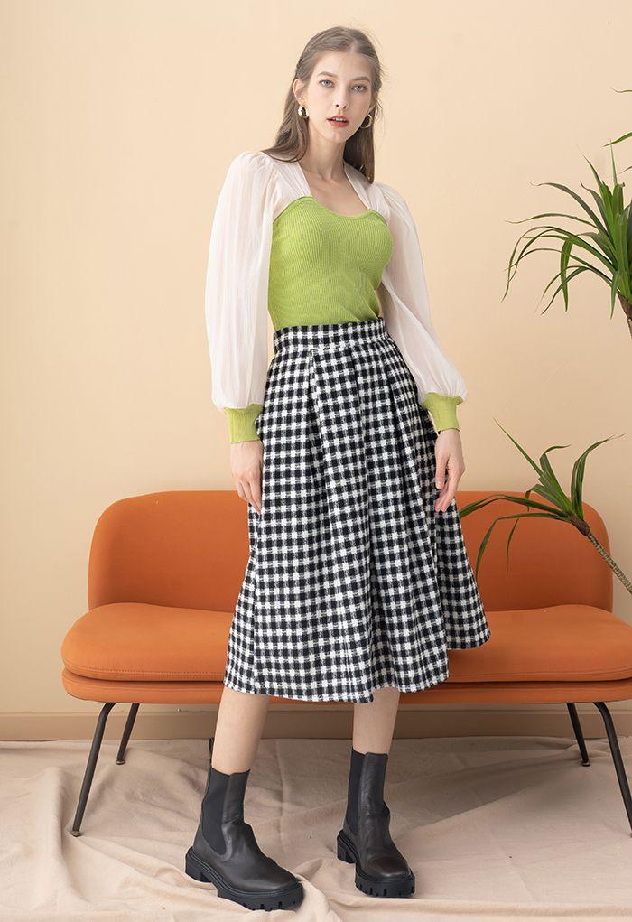 Plaid Print Wool-Blend Pleated Midi Skirt in Black