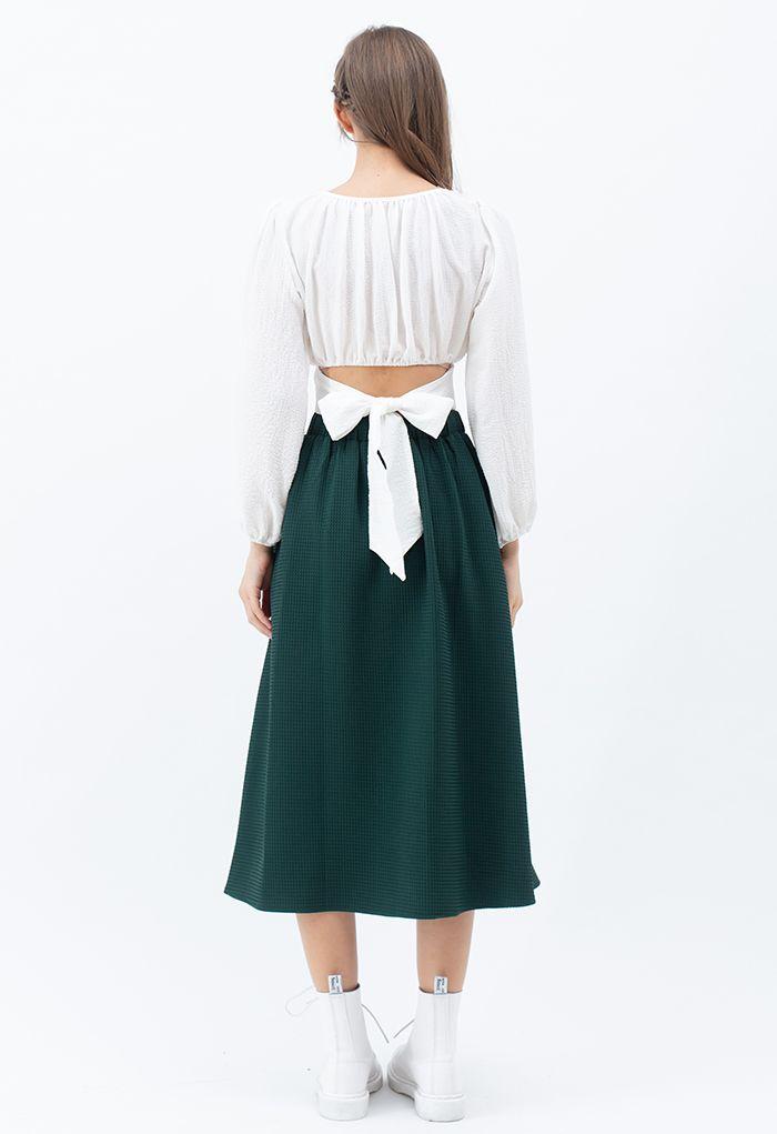 Waffle Pattern Pleated Midi Skirt in Green