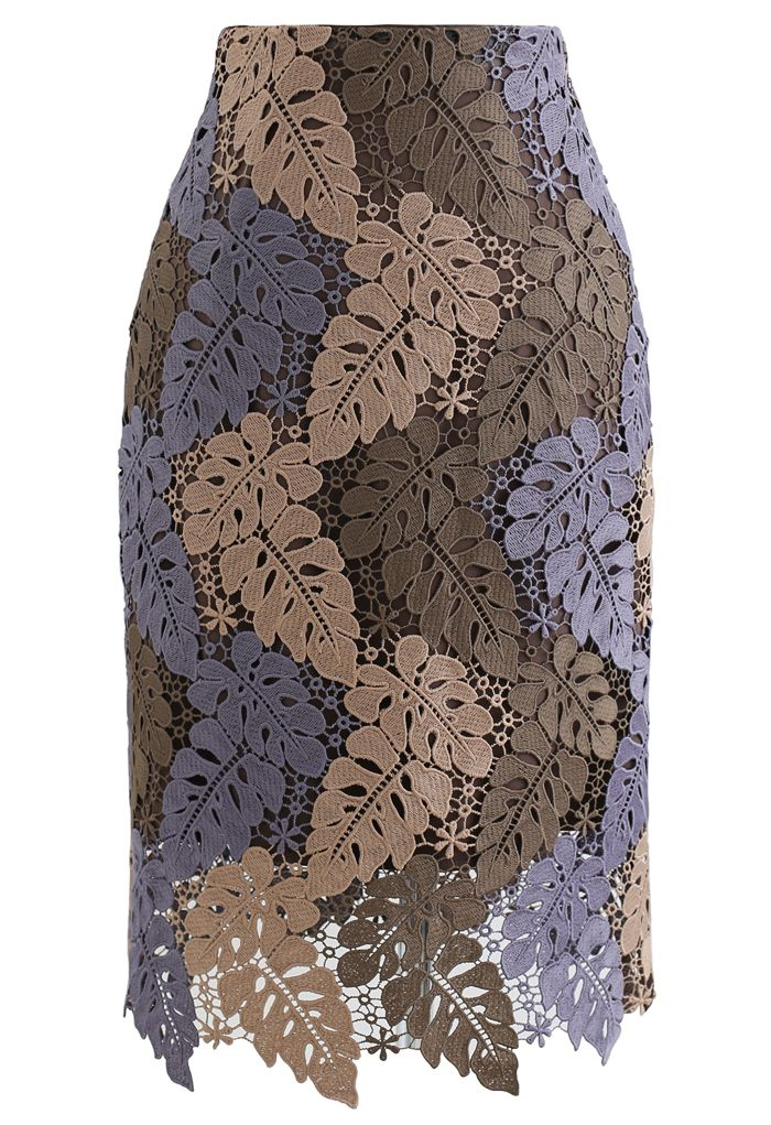 Multi-Color Leaves Crochet Pencil Skirt in Taupe
