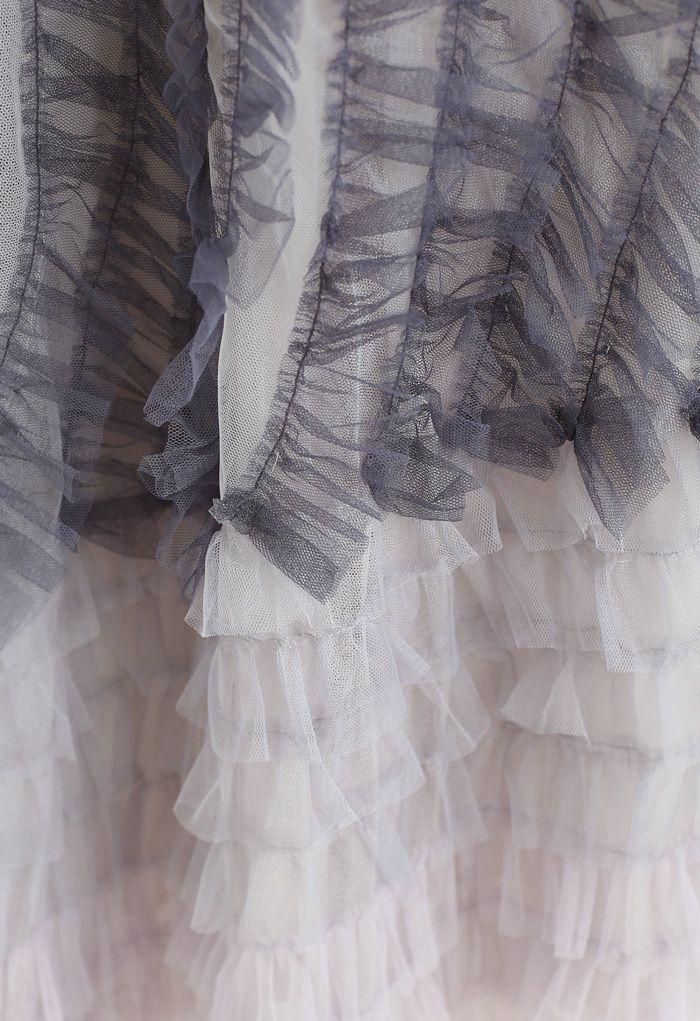 Gradient Tiered Ruffle Mesh Tulle Maxi Skirt