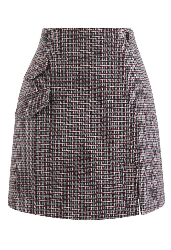 Flap Pocket Houndstooth Check Wool-Blend Mini Skirt