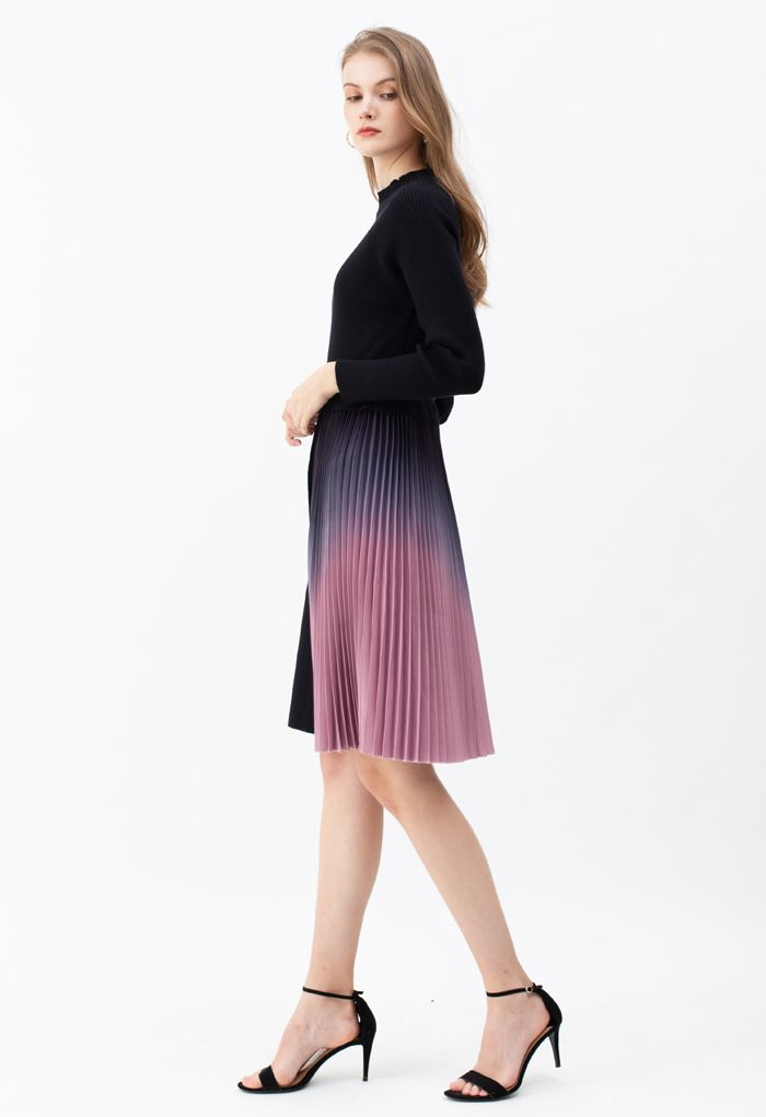 Gradient Pleated Splicing Belted Knit Dress in Black