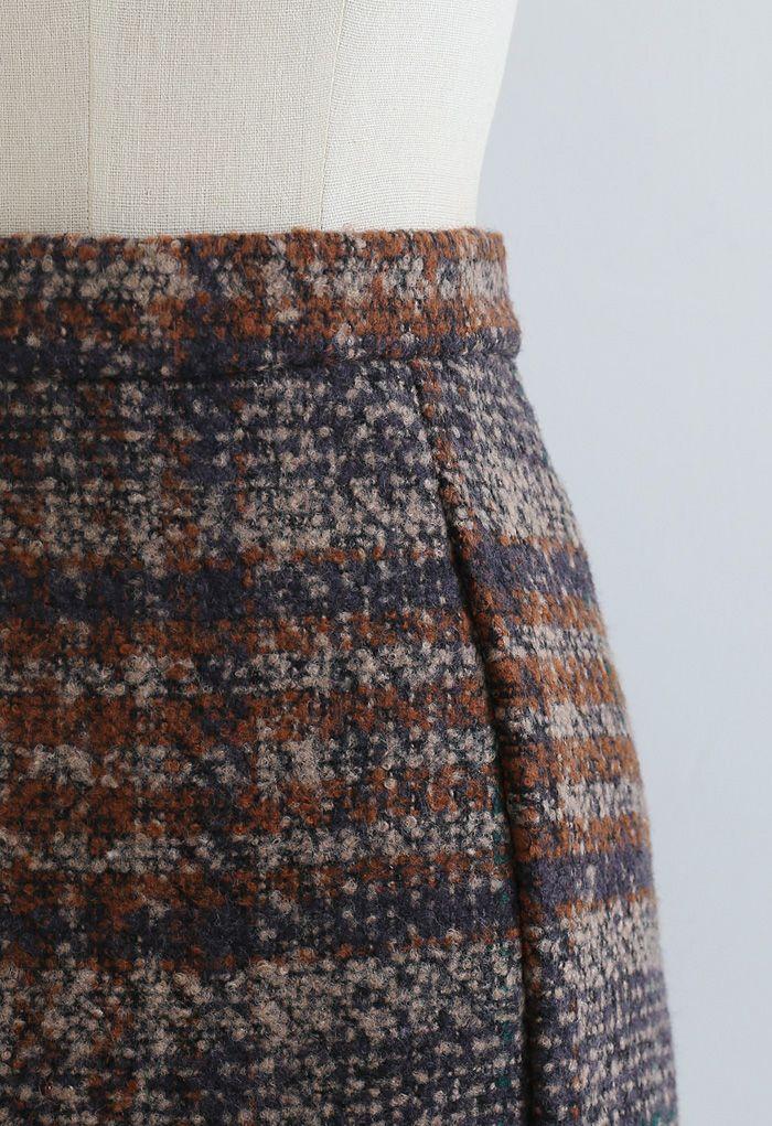 Check Print Wool-Blend Mini Bud Skirt in Caramel