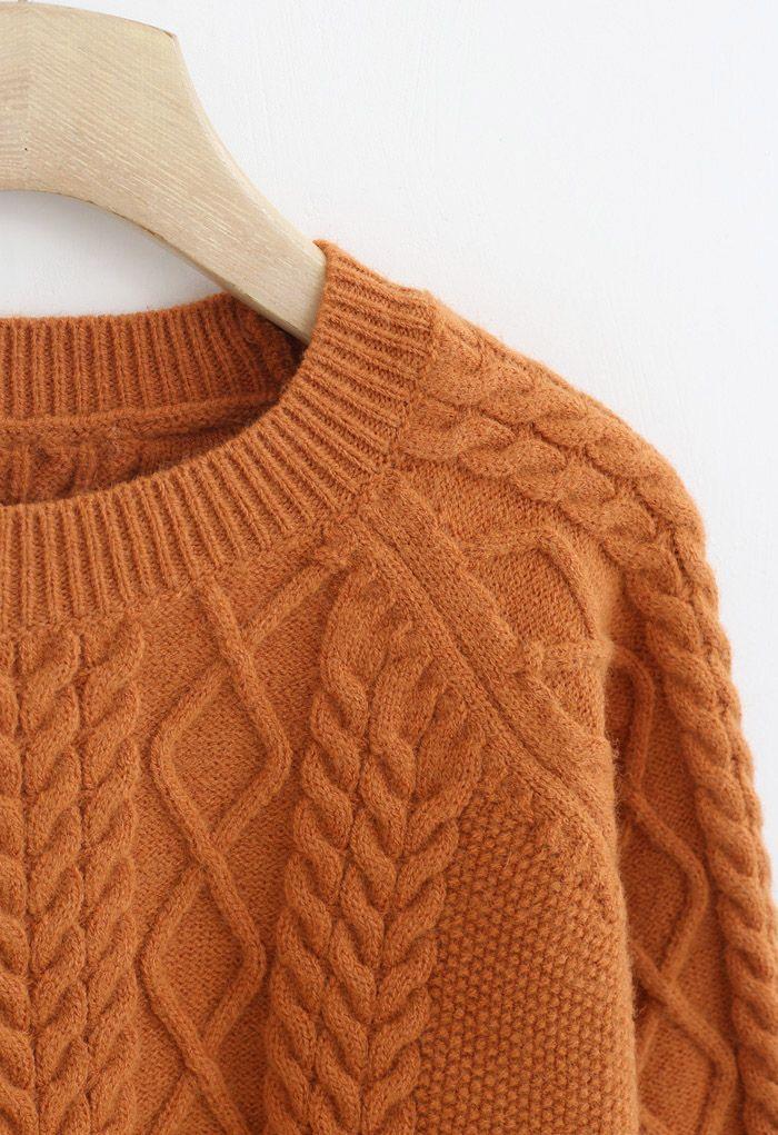 Braid Texture Cropped Knit Sweater in Orange