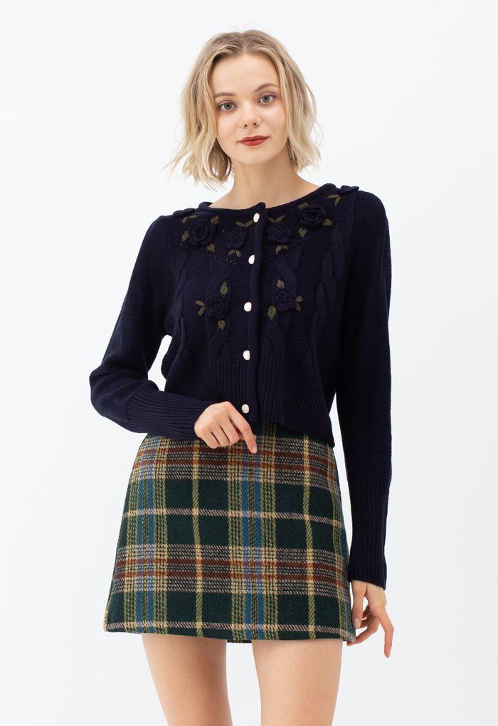 Classic Plaid Wool-Blend Mini Skirt in Green