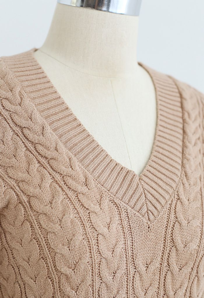Lace Up Sleeves V-Neck Braid Knit Dress in Camel