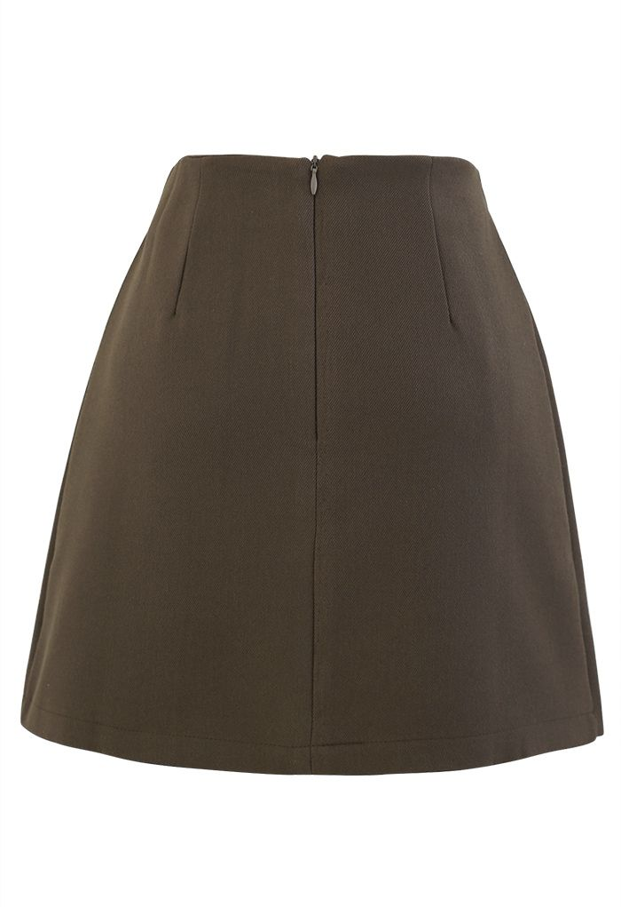 Buttoned Flap Pleated Mini Skirt in Olive