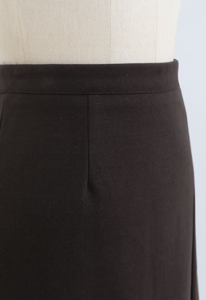 Side Slit Midi Pencil Skirt in Brown