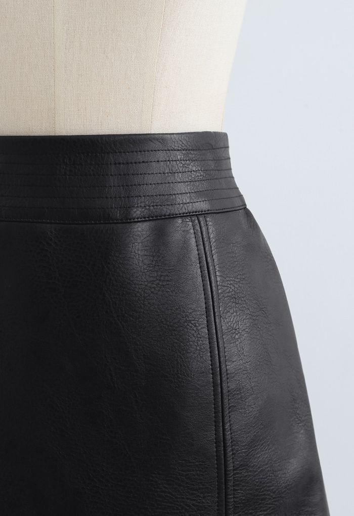 Seamed Waist Faux Leather Bud Mini Skirt in Black