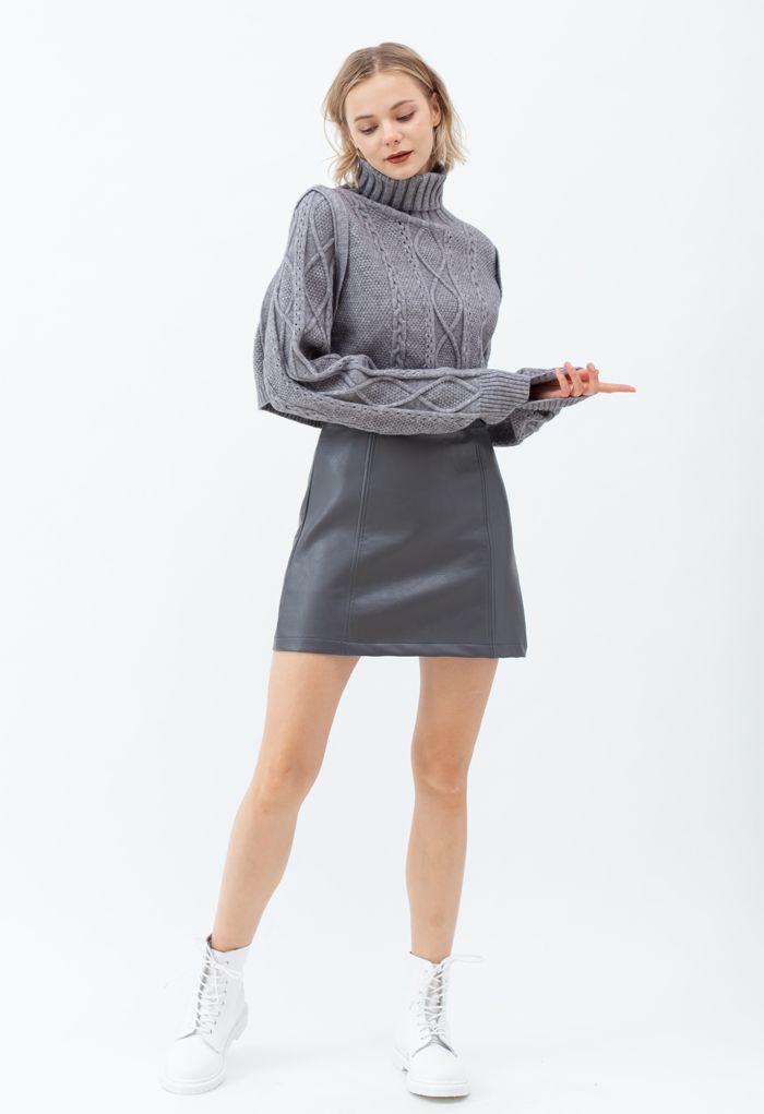 Seamed Waist Faux Leather Bud Mini Skirt in Grey