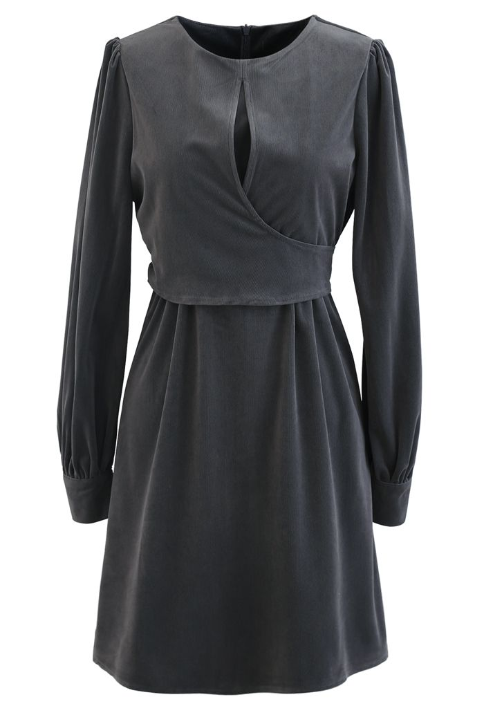 Corduroy Wrap Long Sleeves Mini Dress in Grey