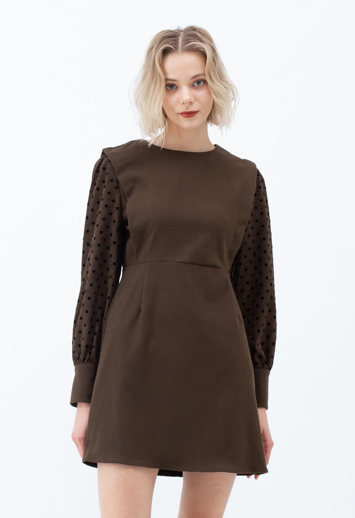Dots Splicing Sleeves Mini Dress in Brown
