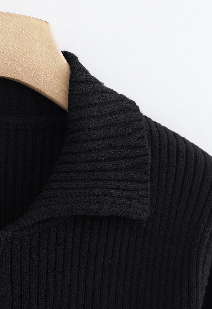 Collared Zipper Rib Knit Crop Top in Black