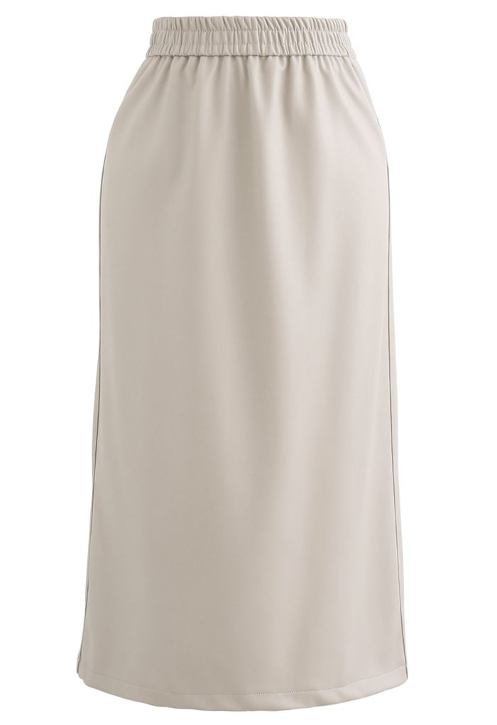 Sleek Soft Faux Leather Pencil Midi Skirt in Sand